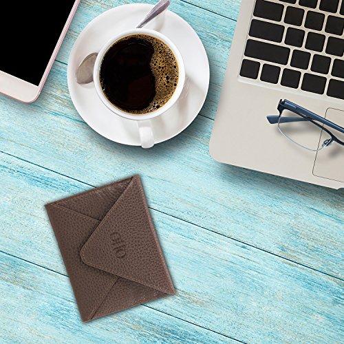 OTTO Echtes Leder Kreditkartenhalter und Reisebrieftasche Hülle mit Magnetischem Verschluss - Kreditkartenhalter mit mehreren Schlitzen für Geld, Ausweis, Tickets - RFID Schutz (Hellbraun) Dunkelbraun