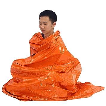 Tbest Manta Hoja de Supervivencia de Emergencia Impermeable Saco de Emergencia Dormir Aluminio Mylar Carpa Térmica Plegable Manta Rescate Militar ...