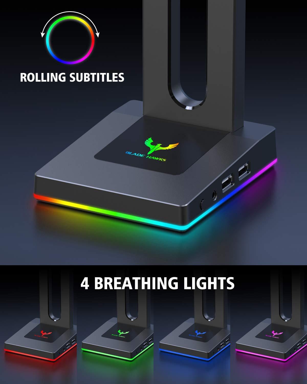 Universal Soporte Auriculares con 3.5mm AUX y 2 USB Puertos Bose para Juego y Pantalla AKG Shure JBL Jabra Blade Hawks RGB Gaming Soporte Auriculares V/álido para Auriculares Sony