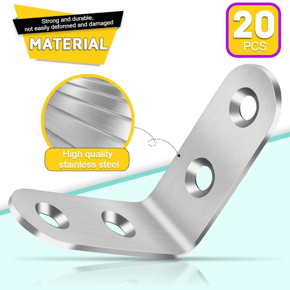 40mmx40mm Equerre Angle /Équerre de Coin en Acier Inox Support de Coin /Équerre Dassemblage avec 80 Pcs Vis FANDAMEI 20 Pcs /Équerre de Fixation 90 Degr/és /à Angle Droit Argent Equerre Fixation