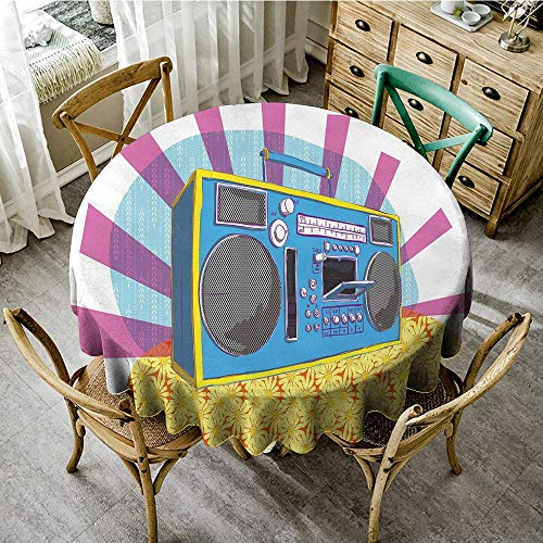 DONEECKL Restaurant Tablecloth 70s Party Decorations Retro Boom Box in Pop Art Manner Dance Music Colorful Composition and Durable D63 Multicolor