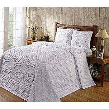 Amazon Com Bt 3 Piece Oversized Chenille Queen Bedspread