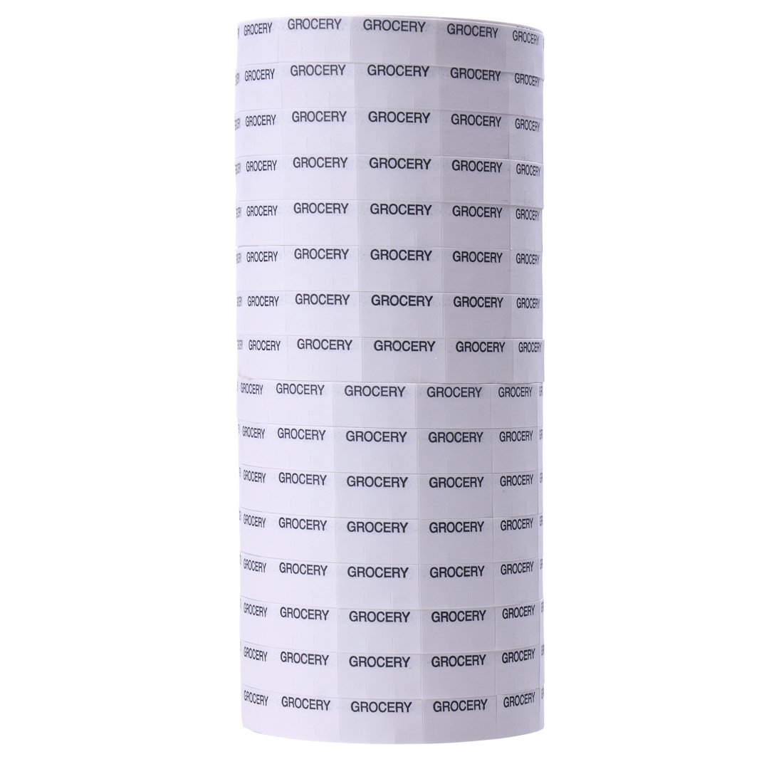 Black Print on White ''GROCERY'' Pricing Labels to fit Monarch 1110 Pricers. 16 Rolls with 1 Free Ink Roller.