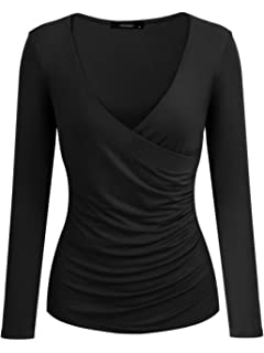 Kate Kasin Women S Faux Wrap Tops V Neck Long Sleeve Pullover Blouse