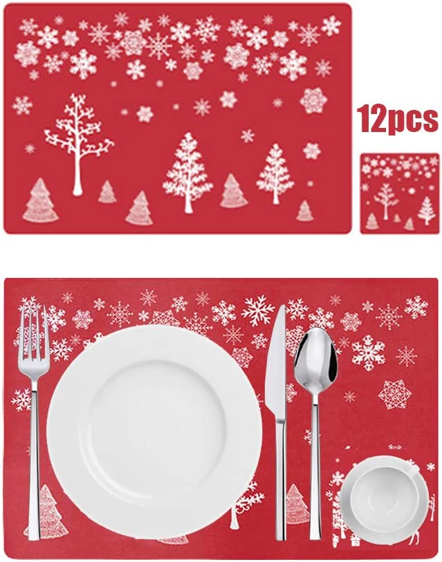 Anyingkai 12PCS Manteles Individuales de Navidad,Decoración Navideña Mantel,Mantel Individual Plastico,Salvamanteles Individual,PVC Mantel Individual,Estera de Mesa (Mangle)