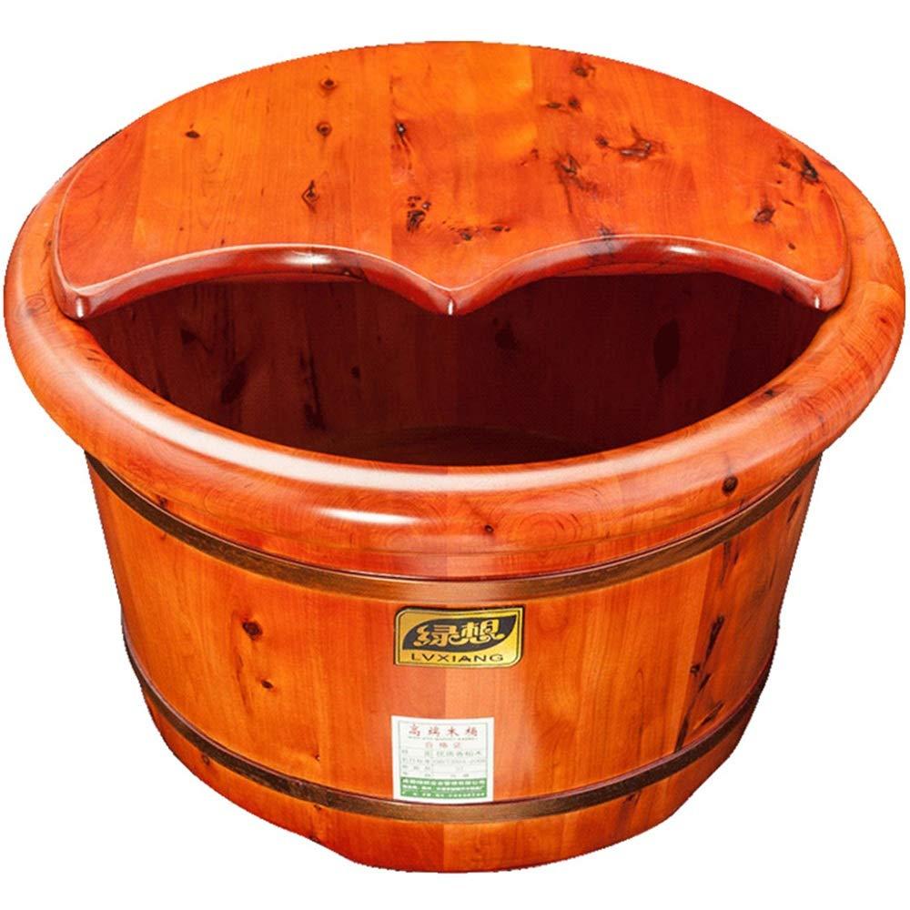 足浴、杉足浴バレル足洗いバレル滑らかで繊細なペディキュアバレルペディキュアボウルスパマッサージふた付き B07TLDC5DK