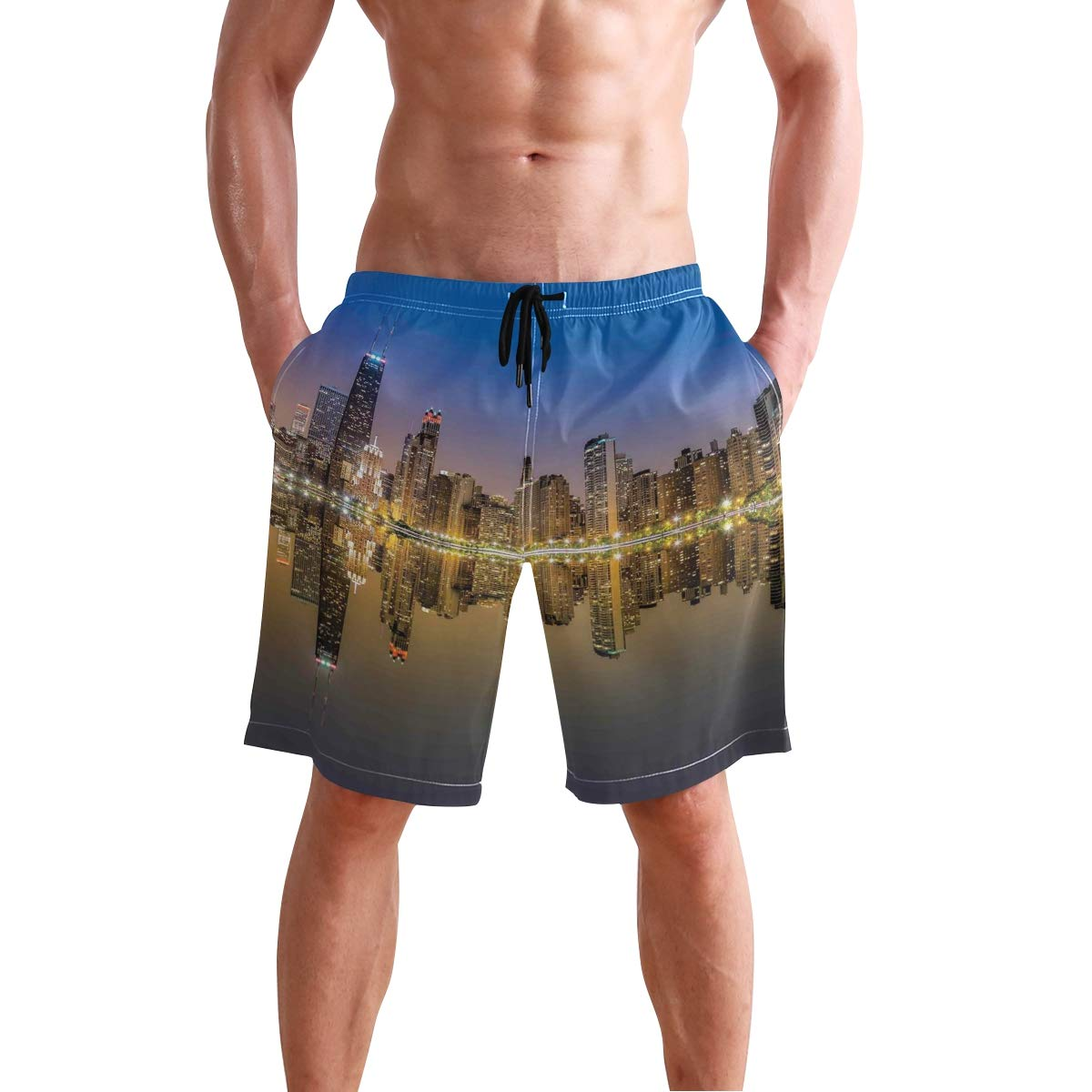 KVMV Ethnic Watercolor Effect Tree of Life Figure On Polka Dot Pattern 5size Beach Shorts