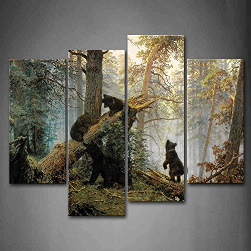 First Wall Art – Bears Play In Forest Broken Tree Wall Art Painting The Picture Print On Canvas Animal Pictures For Home Decor Decoration Gift