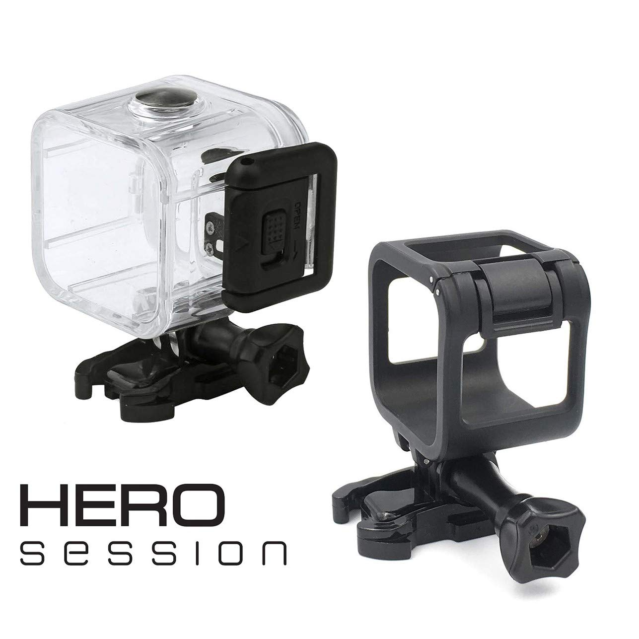 RAXPY Combination of Waterproof Housing Plus a Frame for GoPro Session Black, The housing is a Protective Hard case for Underwater Photography up to ...