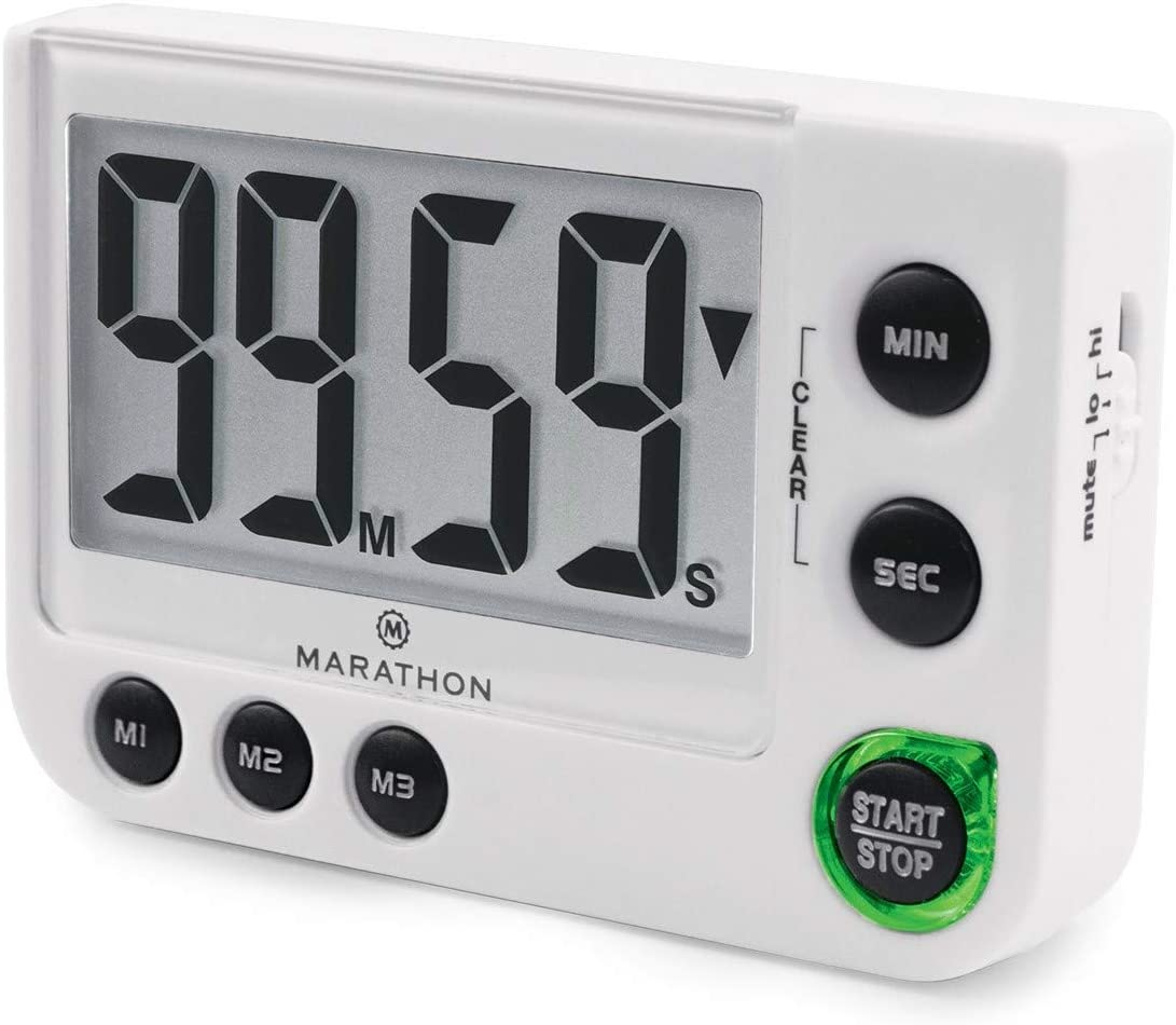 Marathon TI030016WH Large Display 100 Minute Count UP/Down Timer with Adjustable Volume and Flashing Light Feature. Great for Visually or Hearing Impaired. Color - White