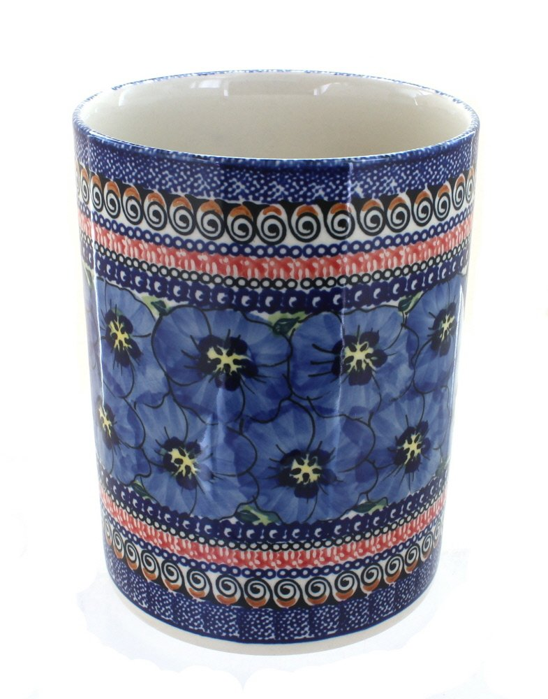 Polish Pottery Blue Art Utensil Jar by Blue Rose Pottery