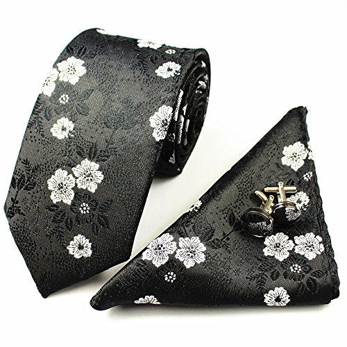 - Z-P Mens Neckties Pocket Square Floral Black Skinny Microfiber Business Tie Set