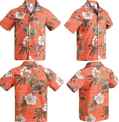 【Palmwave】 アロハシャツメンズ 半袖シャツ ハイビスカス柄 ハワイアンシャツ 総柄シャツ 綿素材 大きいサイズ メンズおしゃれ 上品 AHT05