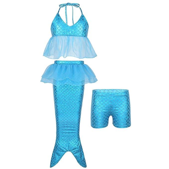 IEFIEL 3 pcs Traje de Baño Niña Bikini Sirena Princesa con ...