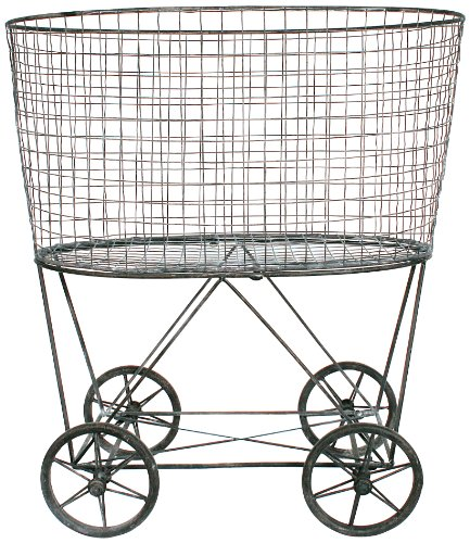 Creative Co-Op DE2757 Metal Vintage Laundry Basket with Wheels by Creative Co-op