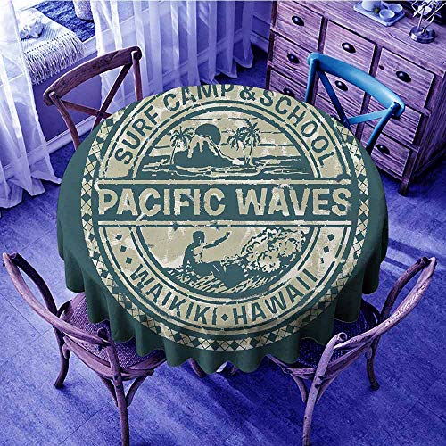 (ScottDecor Modern Christmas Tablecloth Pacific Waves Surf Camp and School Hawaii Logo Motif with Artsy Effects Design Print Round Tablecloth Khaki Slate Blue Diameter 70