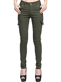 d4daaef2d1d43 AUSZOSLT Women's Stretch Solid Casual Skinny Utility Cargo Pants Slim Ankle  Jeans