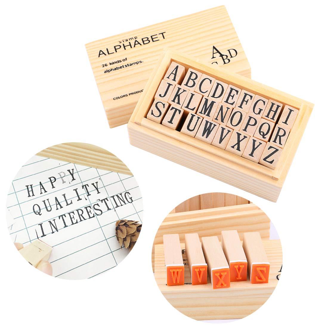 26 Pcs Vintage Wood Capital Letter Stamps for Card Making DIY Craft Scrapbooking Dedoot Wooden Rubber Stamp Alphabet