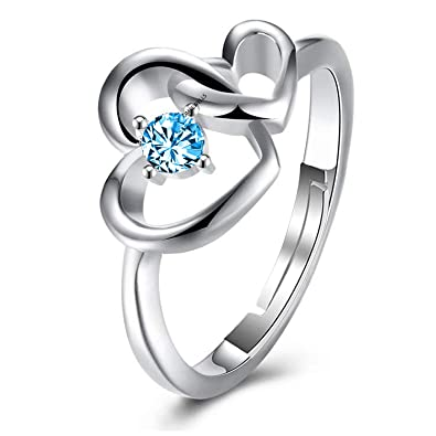 888f63aca Buy Om Jewells Cz Jewellery Rhodium Plated Heart in Heart Adjustable Finger  Ring Decorated with Blue Cz Stone for Girls and Women FR1000934 Online at  Low ...