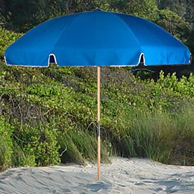 6.5 ft. Acrylic Fiberglass Beach Umbrella - Wood Pole Forest - Stainless Steel parts & Heavy Guage resin parts Galvanized Steel Notch & Non-Twisting End Tips Metal Bell Cap & 5.0 mm Zinc Plated Steel Ribs - shades-parasols, patio-furniture, patio - 619OL12aWHL. SS400  -