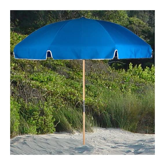 6.5 ft. Acrylic Fiberglass Beach Umbrella - Wood Pole Forest - Stainless Steel parts & Heavy Guage resin parts Galvanized Steel Notch & Non-Twisting End Tips Metal Bell Cap & 5.0 mm Zinc Plated Steel Ribs - shades-parasols, patio-furniture, patio - 619OL12aWHL. SS570  -