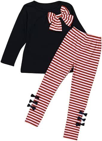 YANG-YI Kids Baby Girls Clothing Long Sleeve Bowknot Dress+Stripe Pants Set (130cm/ 5/6T, Navy)