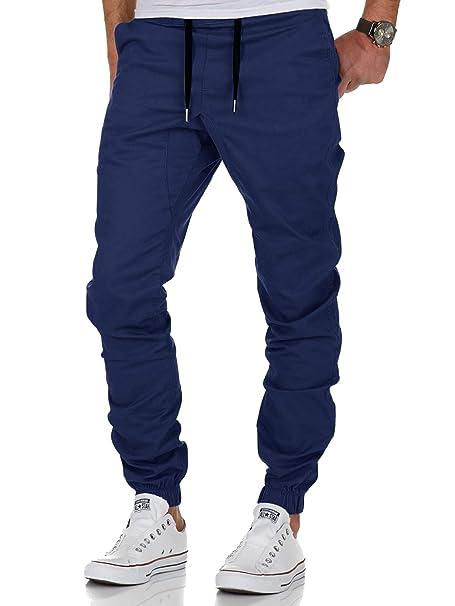AitosuLa Hombres Jogger Chino Pantalones Slim Fit Jogging Casual Pantalón  Trouser (Armada 7c9e1b4bedb
