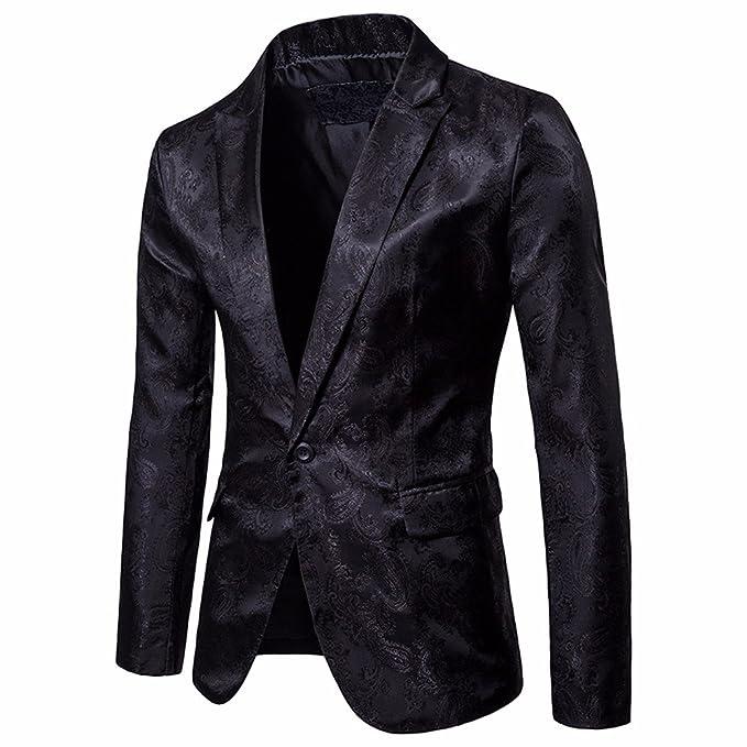 Longra-Uomo Giacca da Abito Maniche Lunghe Blazer Jacquard Elegante  Camicetta Giacca Vestito di Affari Cappotto Giacca Blazer Uomo Slim Fit  Blazer Festa ... e27748568ed