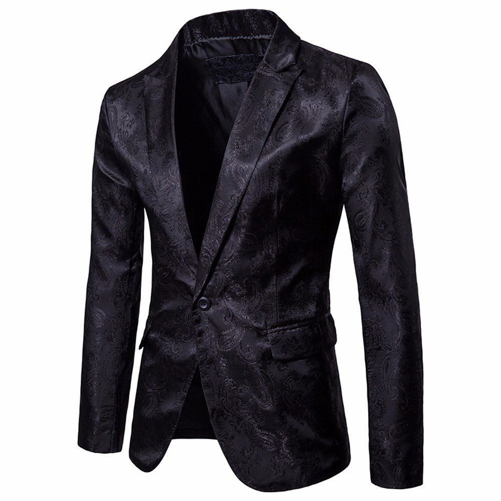TAGGMY Men's Suit Jacket Slim Fit Formal Bussiness Long Sleeve Regular Fit Pattern Blazer Big and Tall Coat Top Black