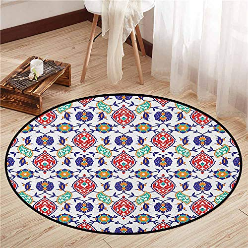 - Living Room Round Rugs,Traditional,Classic Ottoman Moroccan Old Fashioned Turkish Mosaic Tiles Ceramic Artwork,Ideal Gift for Children,3'11