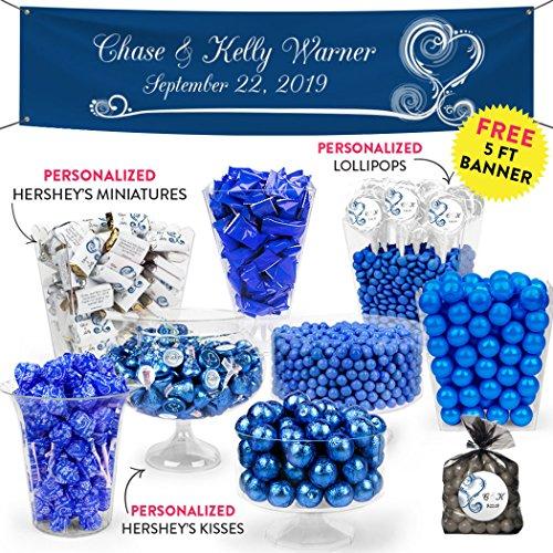 Personalized Wedding Deluxe Blue Candy Buffet Swirled Hearts - Heart Wedding Hersheys Miniatures