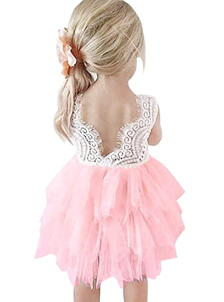 Amzbarley Little Girls Backless Lace Tulle Tutu Dress For Wedding Flower Girl Birthday Party 1 6 Years