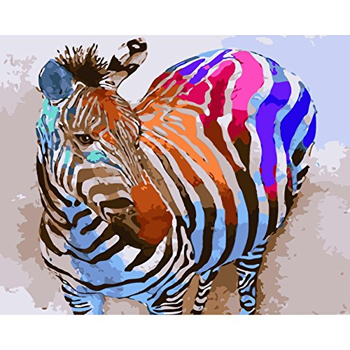Adarl DIY Oil Painting Paint By Number Kit Image Drawing On Canvas By Hand Coloring Arts Crafts & Sewing (Color Zebra)