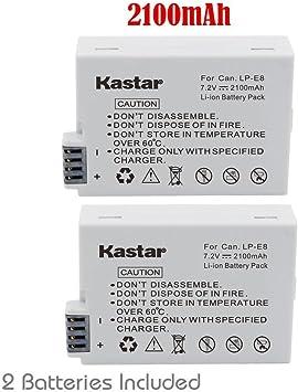 Kastar Battery (2 Pack) for Canon LP E8, LC E8E Work with Canon EOS 550D, EOS 600D, EOS 650D, EOS 700D, EOS Rebel T2i, EOS Rebel T3i, EOS Rebel T4i,