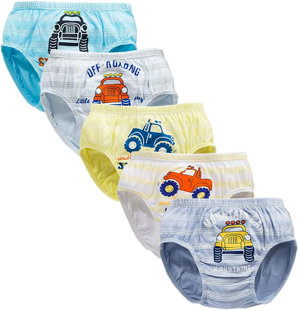 CHUNG Toddlers Little Boys 2-9Y Cotton Briefs Underwear Pack of 5//6 Car Dinosaur