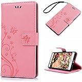 Huawei P9 liteケース Mavis's Diary 横置き 耐久性 保護ケース 吸着の機能 スタンド 手帳型 PUレザー素材 ピンク