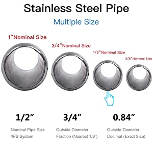 Quickun 304 Stainless Steel Nipple Pipe Fitting, 1/2