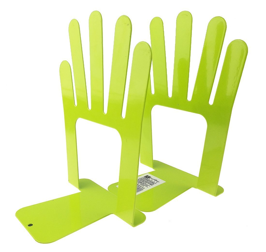 Cute Five Fingers Palm Of Open Hands Book Organizer One Pair Metal Bookends For Kids School Library Desk Study Home Office Decoration Gift (Green)