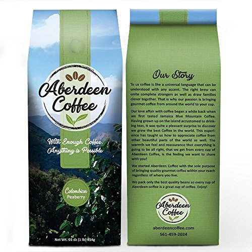 Colombian Peaberry Whole Beans Coffee, Fair Trade, Freshly Roasted- 16-Ounce