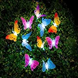 Heartte@ Butterfly Solar String Lights Fiber Optic Shaped 10 LED Multi-color Beautiful Animal Design Light for Garden, Lawn, Patio, Wedding, Party, Bedroom, Outdoor Decoration (JJM-10LED-Bfly)