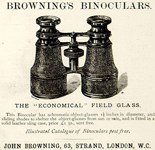 1885 Ad John Browning Field Glass Binoculars 63 Strand London Victorian Era YNM4 - Original Print Ad