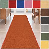 custom size burntorange solid plain rubber backed nonslip hallway stair runner rug carpet 22 inch wide choose your length 22in x 3ft