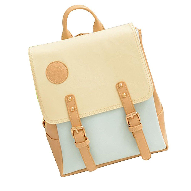 Dalino Faux Leather Girl Cute Backpack School Bag (Blue)