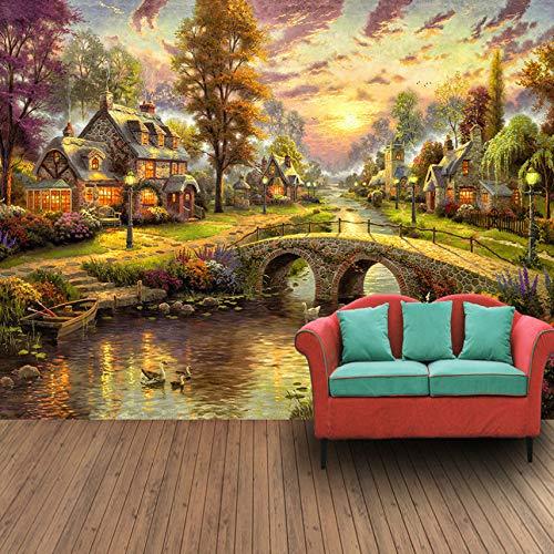 3D Murals Wallpaper Decorations Wall Stickers European Style Hut Night View Art Living Room Art Girls Bedroom (W)400X(H)280Cm