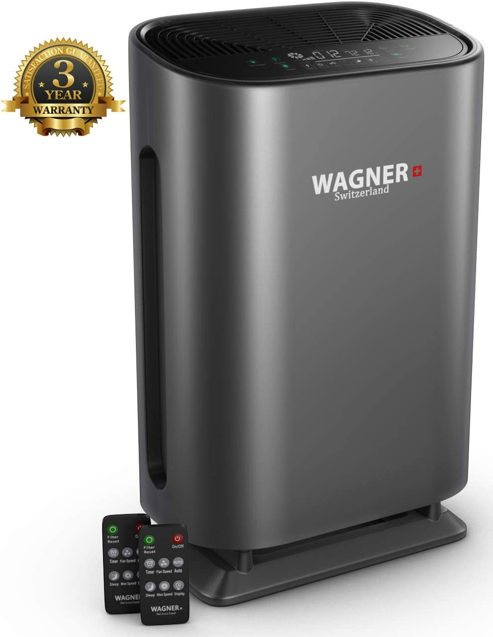 WAGNER Switzerland Air Purifier WA888 HEPA-13 Medical Grade Filter, Particle Sensor for 500 sq.ft. Rooms. Removes Mold, Odors, Smoke, Allergens, Germs and Pet Dander, etc..