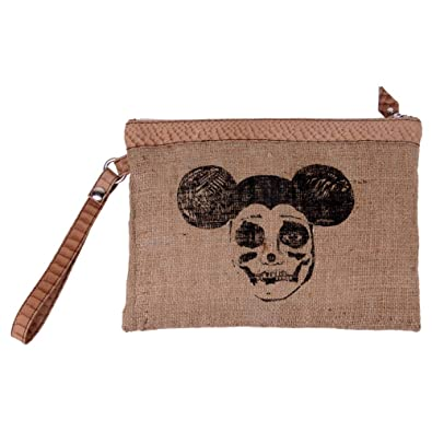 a5f3219bcb9d5 Goldmarie Handtasche Evil Mouse Motiv Jute Canvas Stoff Tasche Clutch mit  abnehmbaren Taschenkel natur schwarz