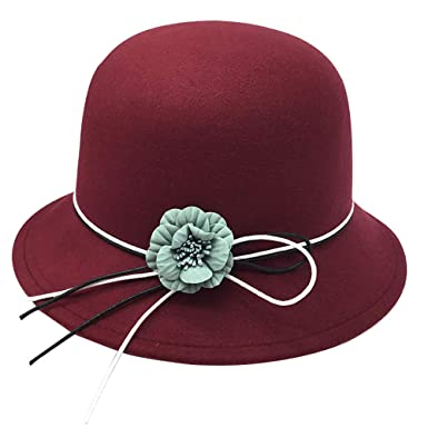 6080df14c0e20 Image Unavailable. Image not available for. Colour  KDSANSO Women s Bowler  Hats Elegant Flowers Hat Ladies Church Derby Party Fashion Winter (Wine red