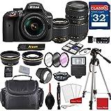 Nikon D3400 DX-format Digital SLR (Black) w/AF-P DX NIKKOR 18-55mm f/3.5-5.6G VR Lens & Tamron 70-300mm f/4-5.6 Di LD Macro Autofocus Lens + Professional Accessory Bundle