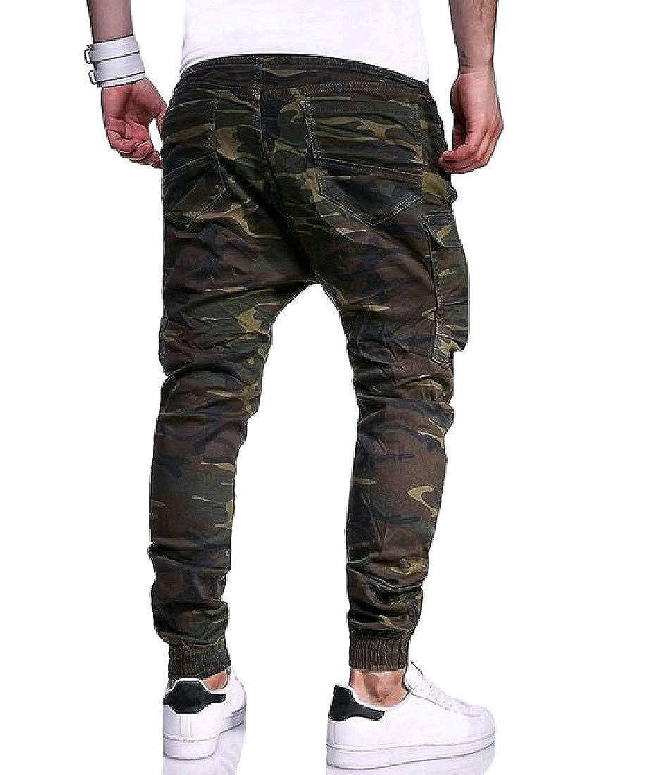 VITryst-Men Retro Classics Camouflage Plus Size Pocket Trousers Pants