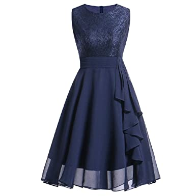 c11e7a94590 BaZhaHei Women s Lace Round Neck Sleeveless Slim Evening Dress Vintage Midi Prom  Dress Knee-Length